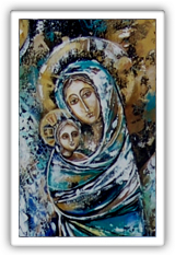 The Virgin Mary with Jesus and Angels (2000), painting by Olessia Zvjagina.